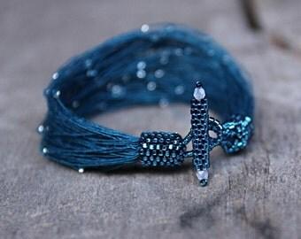 Starry Night Bracelet, Unique Bracelet, Boho Bracelet, Seed Bead Bracelet, Teal Bracelet, Delicate Bracelet, Spring Jewelry