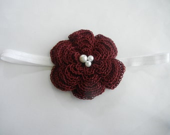 baby headband, crochet flower headband,