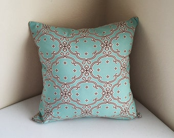 Emerald Colored Tapestry Patterned Front And Natural Linen Combination Cushion Cover