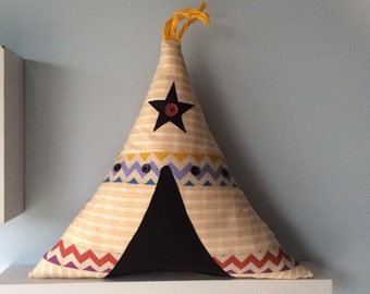 Cute Tee Pee cushion, kids room decor handmade perfect for boys room