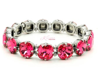 INDIAN PINK 10mm Cushion Cut Stretch Bracelet Made With Swarovski Elements *Pick Your Finish *Karnas Design Studio *Free Shipping*