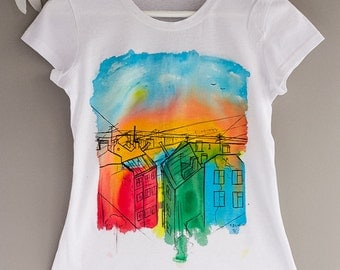 Hand painted Colorful Cotton Women T-shirt: Sunrise in Saint-Petersburg with a bridge. Size XS is ready to ship!