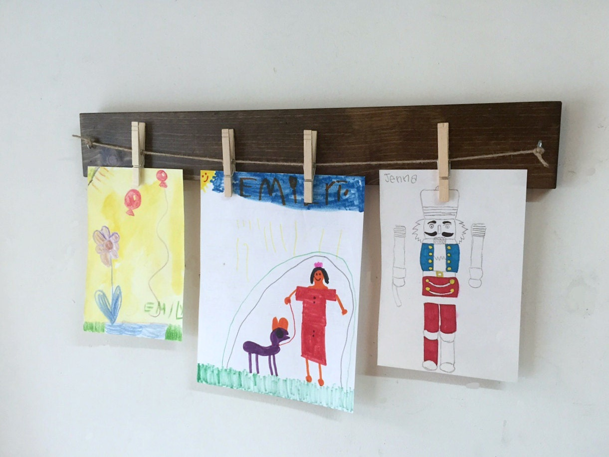 Children Art Display Clothespin Photo Frame Rustic Wood