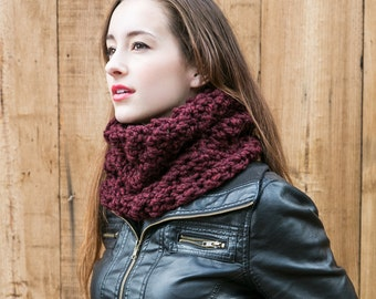 Knit Cowl Scarf // Chunky Wool Cowl // Winter Accessories // THE MIMI shown in Red Wine