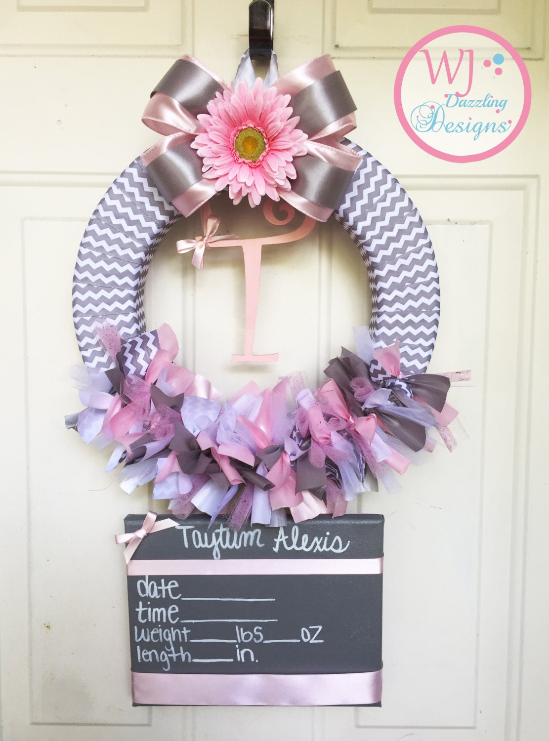 Baby girl wreath baby hospital door wreath by for Baby boy hospital door decoration