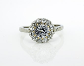 CZ Center Diamond Halo Gold Ring