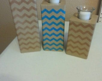 Chevron 3 piece wood candle holders
