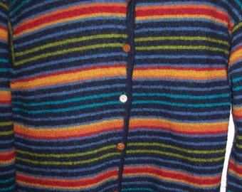 Vintage Talbot's All Wool Cardigan Multi Stripes S P Such a cheery warm find.