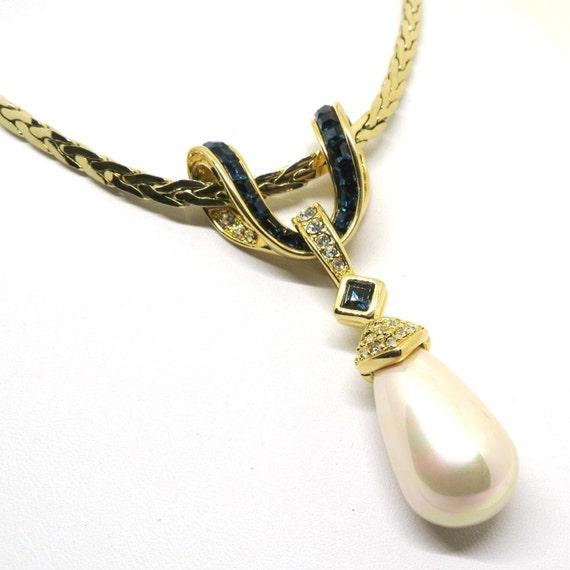 blue necklace vintage nolan miller signed gold tone chain