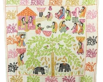 Beautiful, hand-stitched sujuni textile from Bhusra village, Bihar, India