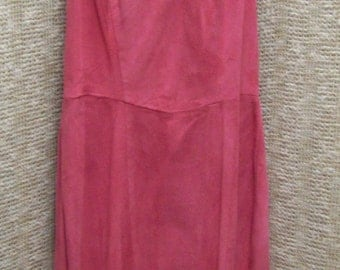 Vintage pink suede minidress mini dress very soft leather, size 4,