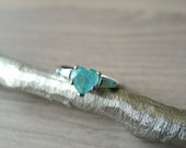 Vintage Sterling Silver Aquamarine Ring, Size 6.5, Heart Cut Aquamarine, Vintage Gemstone Ring, Simple Stacking Ring