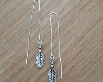 Sterling Silver Earwires with feather charm