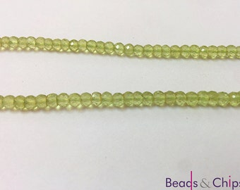 Peridot Rondelle faceted beads,3-3.50 mm Peridot Rondelle beads,Rondelles,Green perdiot,Beading supplies,gemstone beads,mala beads