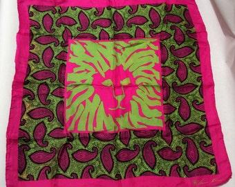 Vintage 1980s Wild Neon Anne Klein Neon Pink/Green Lion Silk Scarf-Large