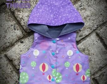 Sale Sale Sale !!  Lilac Balloons Hoodie Vest size -0