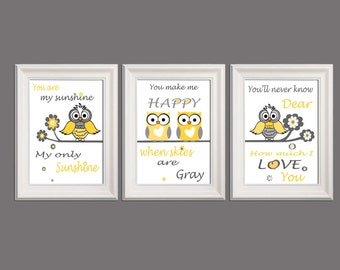 You are my sunshine Owl nursery wall art printable Set of 3 Yellow gray white nursery decor Owl nursery art Owl prints Gift INSTANT DOWNLOAD