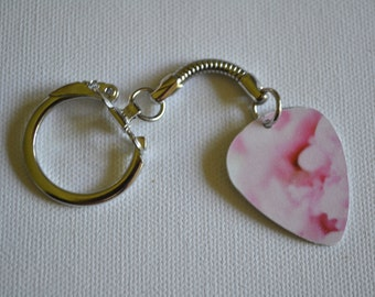 Upcycled Guitar Pick Gifts, Rose Design Guitar Pick Key Chain
