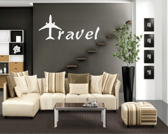 Travel Wall Decal - Travel with plane decal - Travel with Plane - Travel Decal