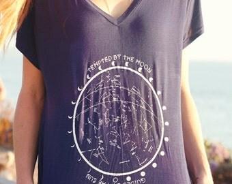 Star Chart Constellation TShirt // Astrology Moon Phases Boxy Top // Boho Top  Bohemian Clothing  // Women's Moon Child Slouchy T Shirt