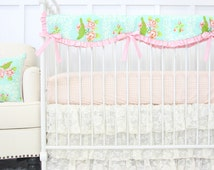 Evie's Vintage Lace Ruffle Designer Baby Bedding | 2 or 3 Piece Crib Set in sweet pastels