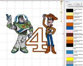 Buzz Light Year & Woody Sheriff from Toy Story Birthday # 4 Digital Applique Embroidery Designs INSTANT DOWNLOAD ~ 4x4, 5x7 and 6x10 Sizes