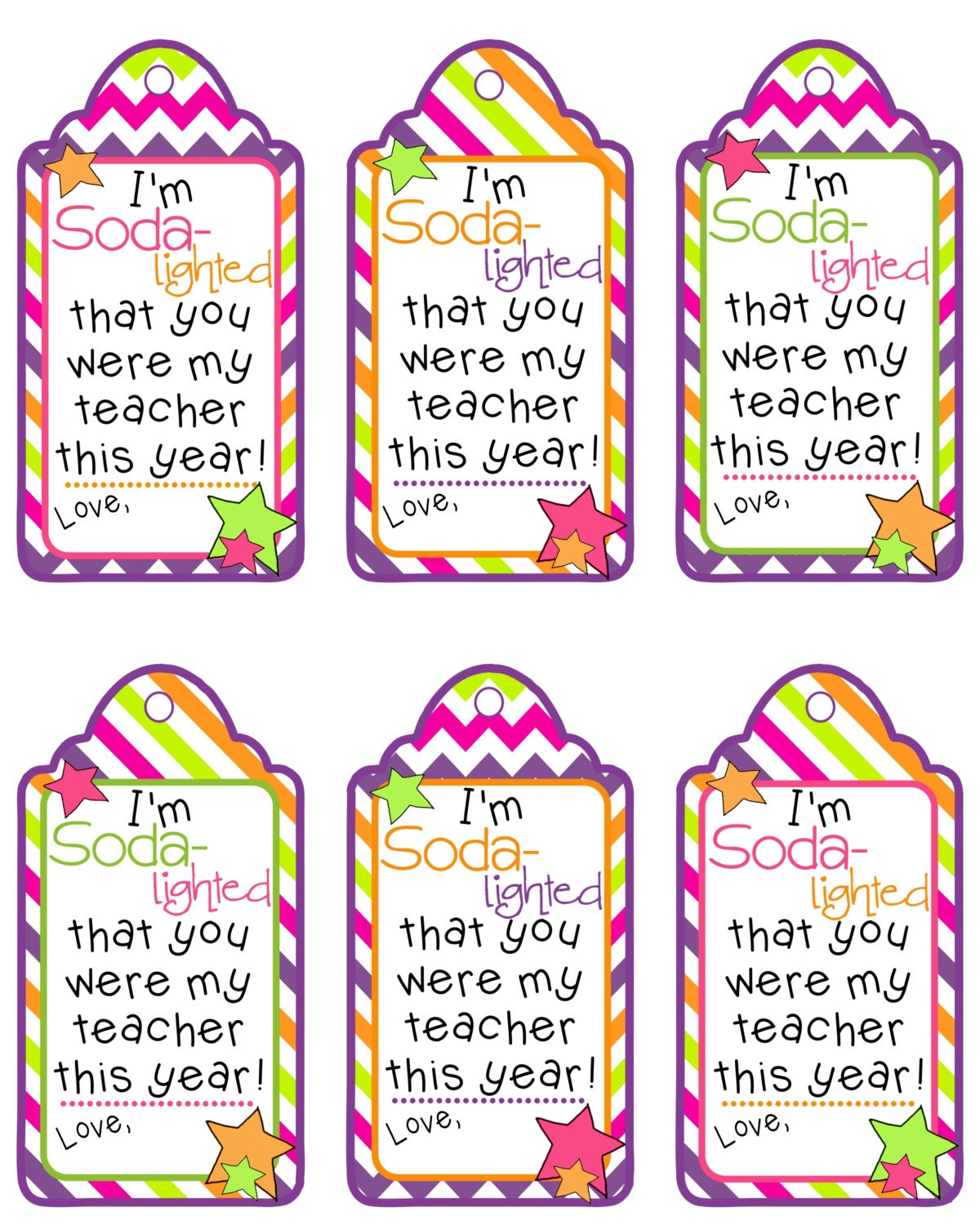 Teacher Appreciation Gift Tag Im SODA-Lighted That You Were