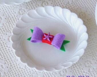 Princess Ariel Inspired Hair Bow, Ariel Felt Hair Clip, Ariel Purple and Green Bow