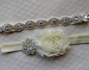 Crystal Bridal Garter Set, Wedding Garter Set Ivory, Ivory Shabby Chic Rhinestone Garter, Crystal Rhinestone Garter and Toss Garter Set
