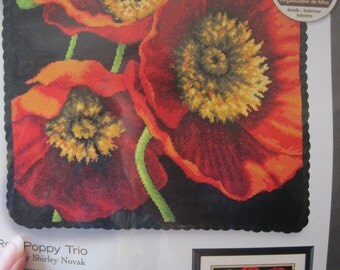 "Needlepoint Kit - Red Poppy Trio - by Dimensions - 14"" x 14"" NEW NIP"
