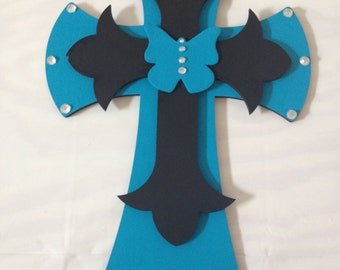 Black and Teal Butterfly Cross with Rhinestones - Hand Painted Cross - Butterfly Cross - Wooden Cross - Handmade Home Decor