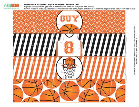 Basketball Water Bottle Labels Basketball By PixieBearParty