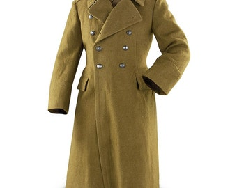 Vintage Unissued double breasted Romanian Communist wool army trenchcoat soviet era greatcoat military overcoat coat jacket trench