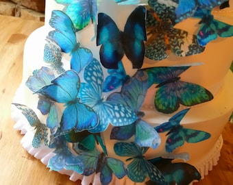 Edible Teal Aqua Wafer Butterfly Cake Toppers/ Cake decorating/ Wedding toppers.Set of 27