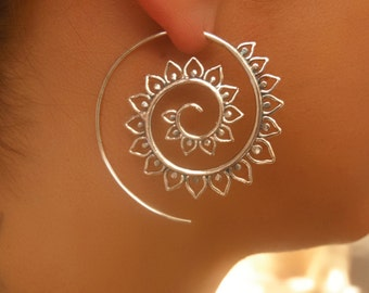 Silver Earrings - Silver Spiral Earrings - Gypsy Earrings - Tribal Earrings - Ethnic Earrings - Indian Earrings - Statement Earrings (ES50)