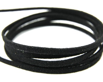 3mm Suede Leather Cord, 5mt 10mt 20mt 50mt Faux Suede Cord, Black Suede Leather Cord, 3mm Flat Faux Leather, Suede Leather Rope Cord