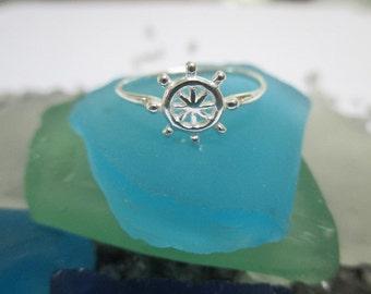 Ships Wheel ring - Sterling Silver Hi Polished