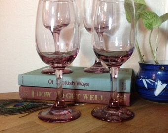 Set of Eight Pink Wine Glasses