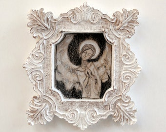 Drawing of an Angel in a Tiny Frame- Original Charcoal Drawing