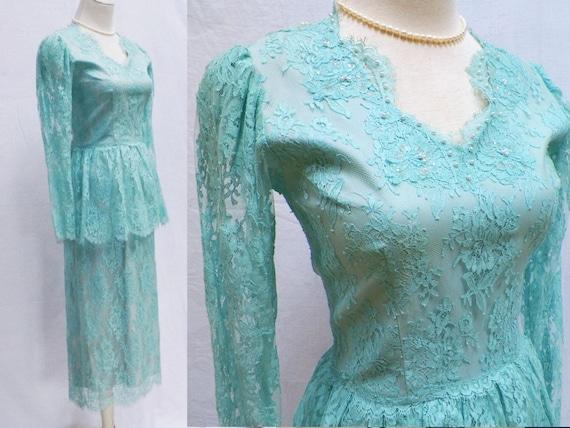 1980s Lace Peplum Formal Dress / Tea Length Dress / Custom