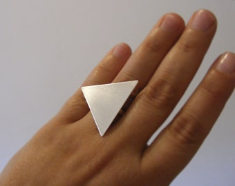 Brushed Triangle Statement Geometric Silver Ring , Sterling Silver Ring .