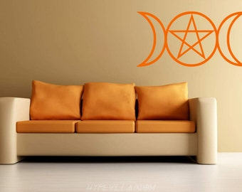 Wall Decal, Wicca Decal, Pagan Wall Art, Wiccan Vinyl Decal, Triple Moon, Goddess Decal, Spiritual Decal