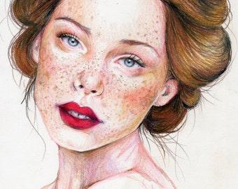 Original Colored Pencil Portrait of Woman