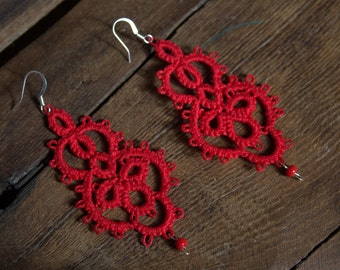 Handmade Tatting Earrings - VERY LIGHT - color red - with a bead