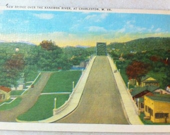 Vintage W Va Postcard Charleston West Virginia Kanawha River Bridge