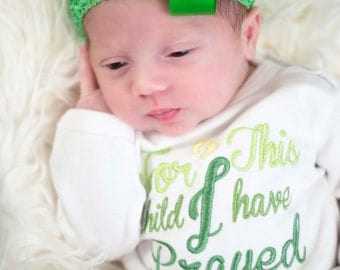Newborn Infant Gown - For This Child I Have Prayed