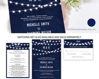 Modern rustic  string light wedding invite template  string lights wedding  editable invitation template  you edit the text  dark blue  T117