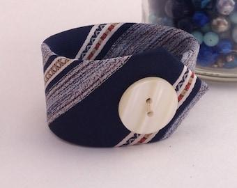 Necktie Bracelet, Necktie Cuff, Cuff Bracelet, Fabric Cuff, Upcycled Necktie, Blue Bracelet, Trending Bracelets,