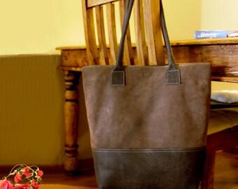 Sale!!! Brown Leather tote bag - Brown nubuck Leather Bag, Handmade leather bag by Limor Galili !