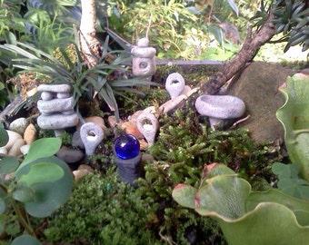 Fairy Garden Zen Garden Set Of 7 Granite Style Custom Polymer Clay Pagodas  Bird Bath Gazing